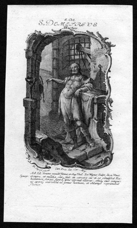 1750 Demetrios v Saloniki 8. Oktober Kupferstich Heiliger Heiligenbild Holy Card