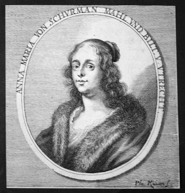 1700 Anna Maria von Schürmann Universalgelehrte polymath Kupferstich Portrait