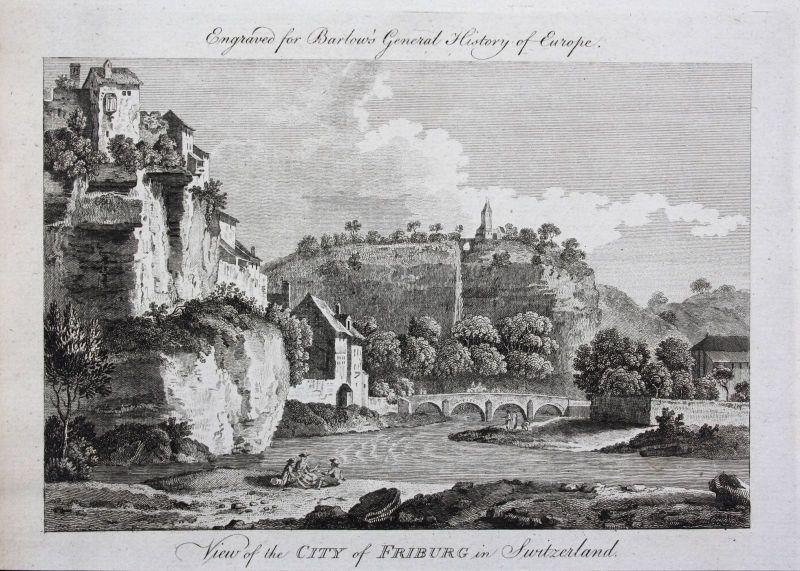 Ca. 1790 Freiburg im Üechtland Fribourg Schweiz gravure Kupferstich engraving