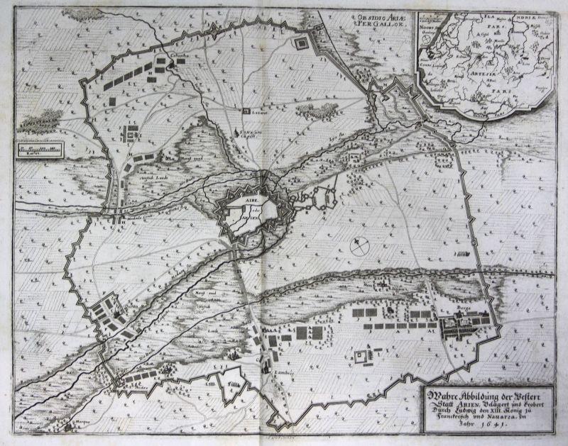 Ca. 1645 Aire sur la Lys bataille gravure plan Kupferstich antique print  148807