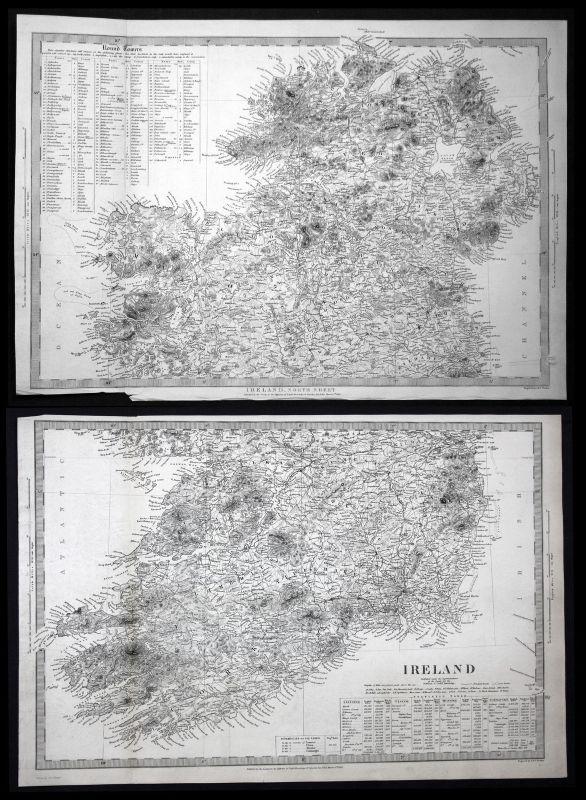1838 Ireland Irland Dublin Cork Derry Limerick Kerry SDUK Karte map