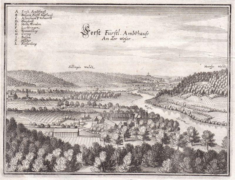 1650 Weser Niedersachsen Forst Bevern Ansicht view Kupferstich Merian