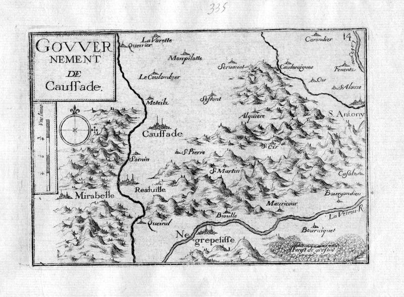 Ca. 1630 Caussade Tarn-et-Garonne Frankreich France gravure carte Tassin