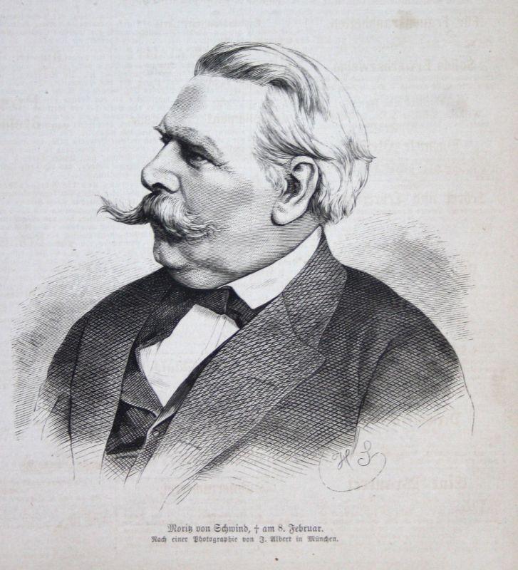 1871 Moritz von Schwind Künstler Maler painter Wien Holzstich Portrait