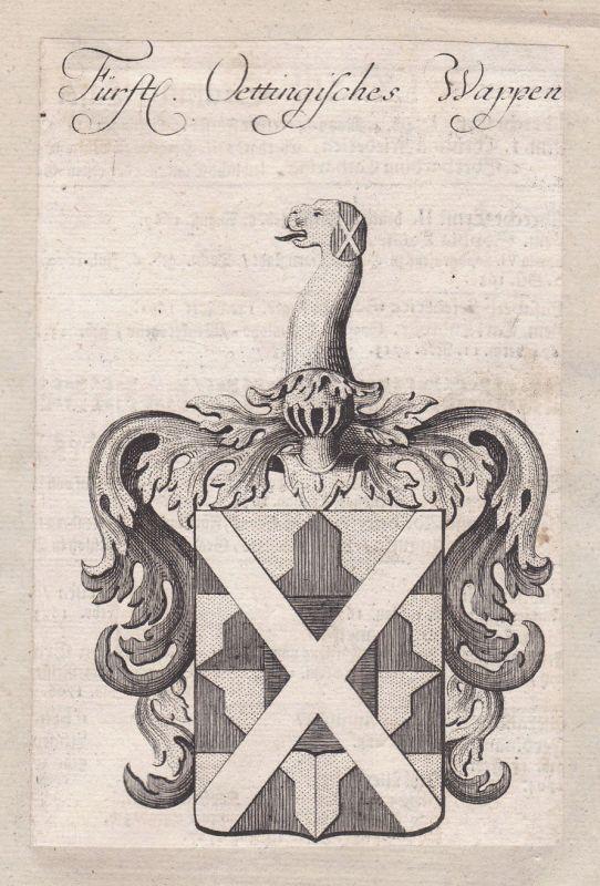 1750 Oettingen Bavaria Bayern Wappen coat of arms Kupferstich antique print