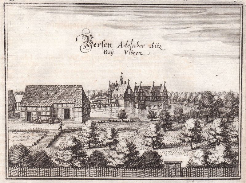 1650 Uelzen Veerßen Herrenhaus Zugbrücke Ansicht view Kupferstich Merian