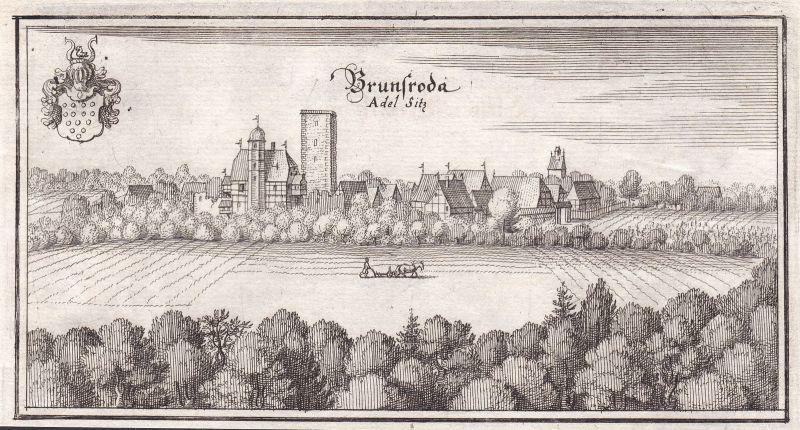 1650 Brunsrode Burg Helmstedt Lehre Niedersachsen Ansicht Kupferstich Merian