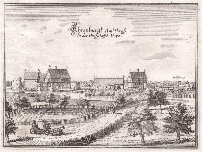 1650 Ehrenburg Diepholz Schwaförden Niedersachsen Ansicht Kupferstich Merian