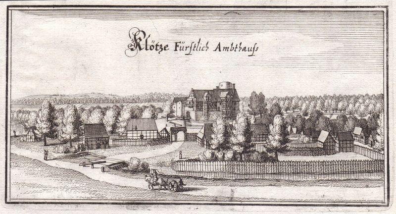 1650 Klötze Salzwedel Sachsen-Anhalt Altmark Ansicht view Kupferstich Merian
