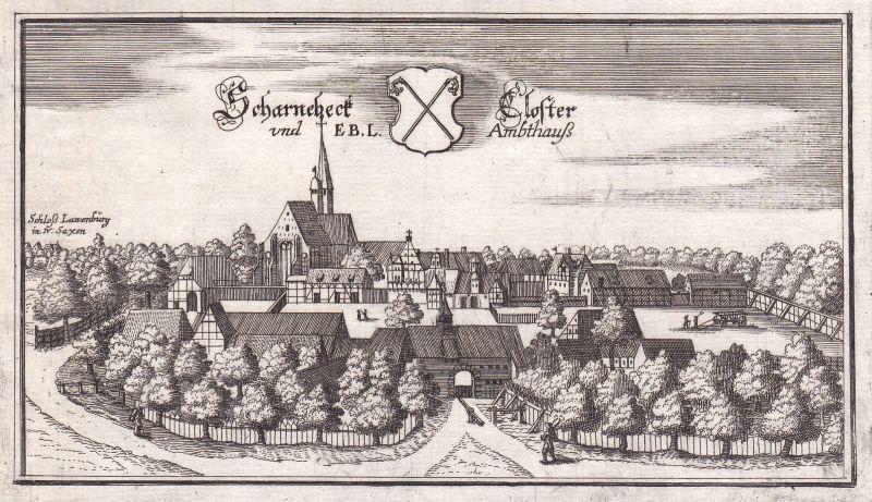 1650 Scharnebeck Niedersachsen Kloster Lüneburg Ansicht view Kupferstich Merian