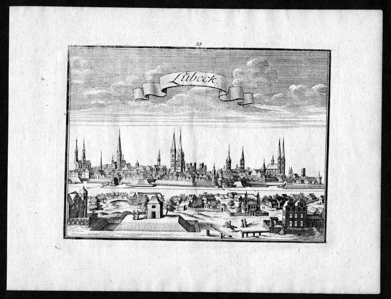 1746 Lübeck Schleswig-Holstein Ansicht view Kupferstich antique print