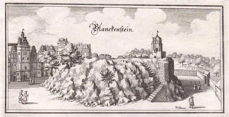 1650 Schloss Blankenburg Harz Sachsen-Anhalt Ansicht view Kupferstich Merian