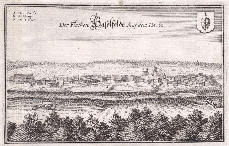 1650 Hasselfelde Harz Sachsen-Anhalt Oberharz Brocken Ansicht Kupferstich Merian