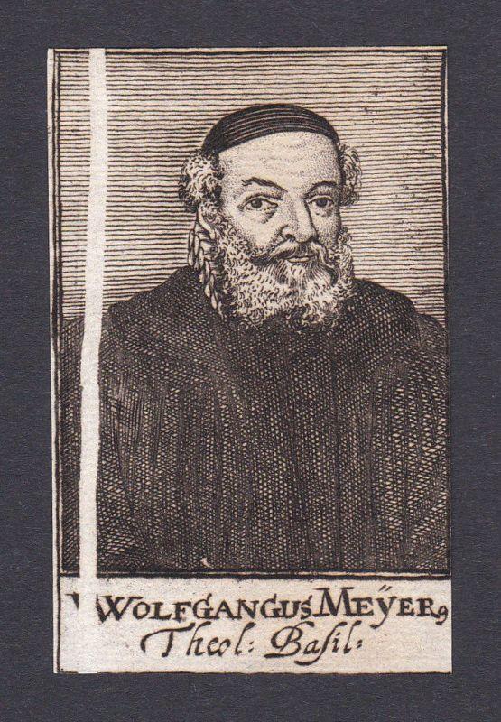 17. Jh. Wolfgang Meyer / theologian Theologe Basel Portrait Kupferstich