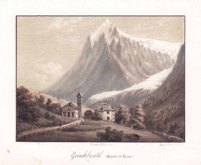 Grindelwald Bern Berne Schweiz Suisse Ansicht vue Panorama 1840 Cuvillier