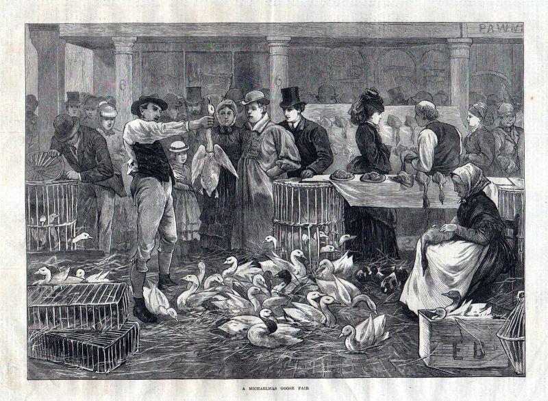 1873 michaelmas goose fair Gänse Messe Michaeli Gans Ausstellung antique print