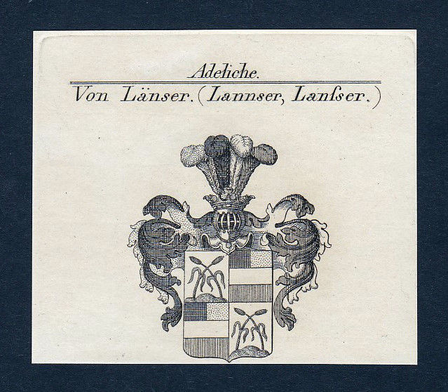 Ca. 1820 Länser Lannser Wappen Adel coat of arms Kupferstich antique print