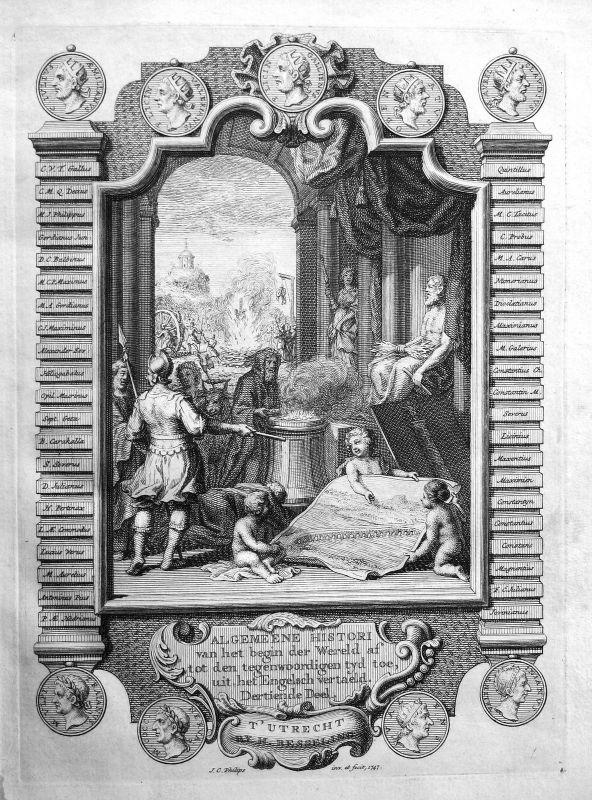 1747 Titelblatt Titel title page Atlas Kupferstich antique print Jan Philips