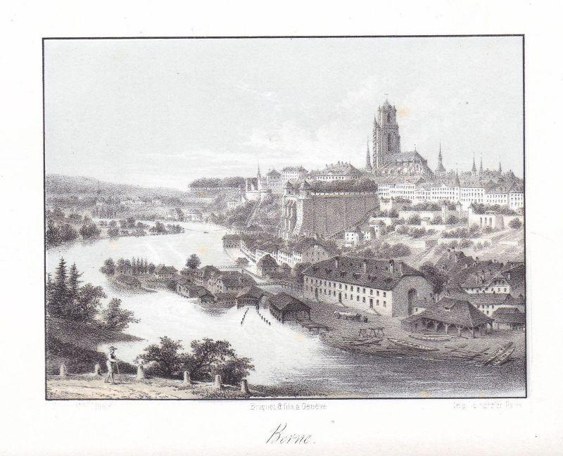 Bern Berne Schweiz Suisse Ansicht vue 1840 Cuvillier Panorama Farblithographie
