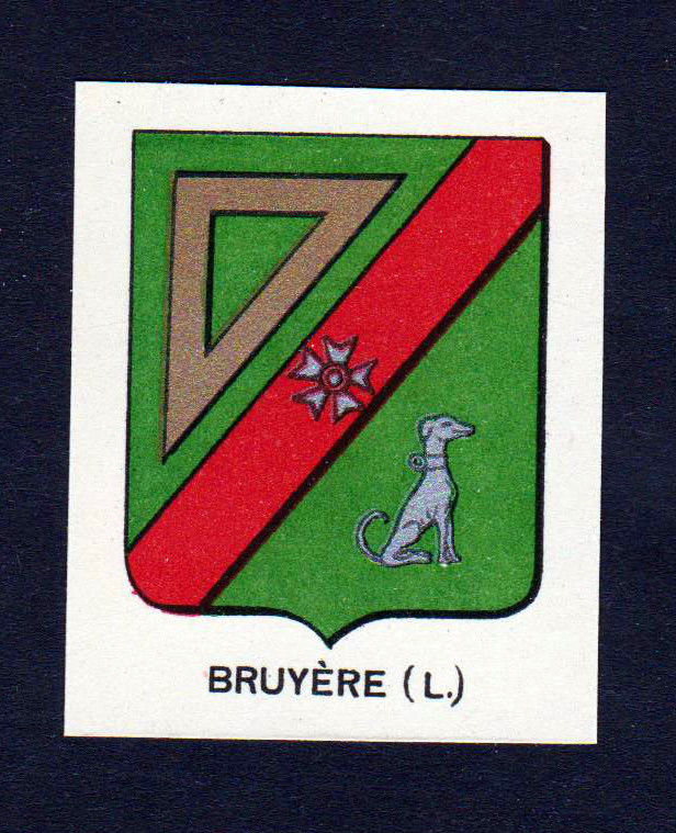 Ca. 1880 Bruyere Wappen Adel coat of arms heraldry Lithographie antique p 146209