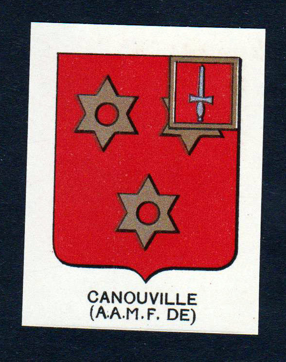 Ca. 1880 Canouville Wappen Adel coat of arms heraldry Lithographie antiqu 146159