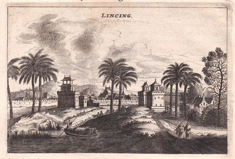 1668 Lincing China Asia Ansicht view Kupferstich antique print Nieuhof Asien