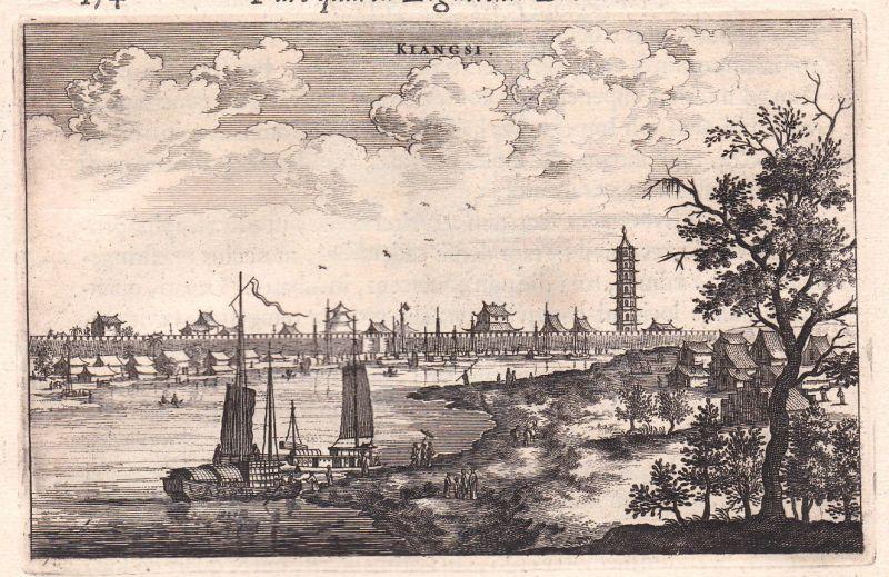 1668 Chanchang Jiangxi Ansicht view China Kupferstich antique print Nieuhof