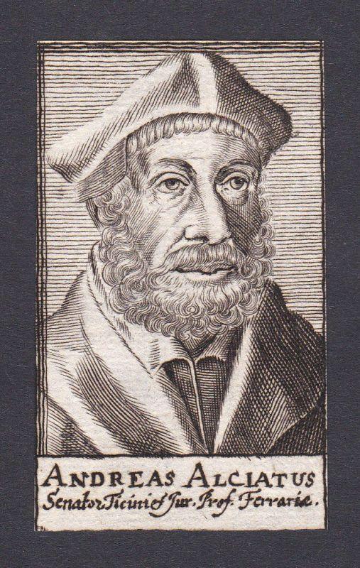 17. Jh. Andrea Alciato / lawyer Jurist Ferrara Portrait Kupferstich