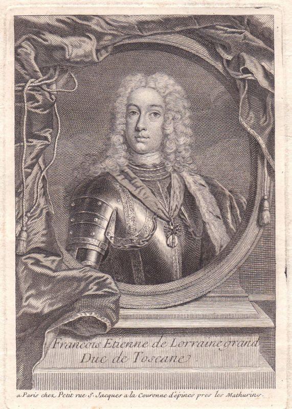 18. Jh. Francois Ier Franz I. Stephan HRR Kupferstich Portrait antique print