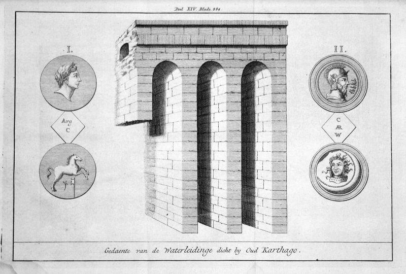18. Jh. Aqueduct Carthage Karthago Tunesien Tunesia Kupferstich antique print
