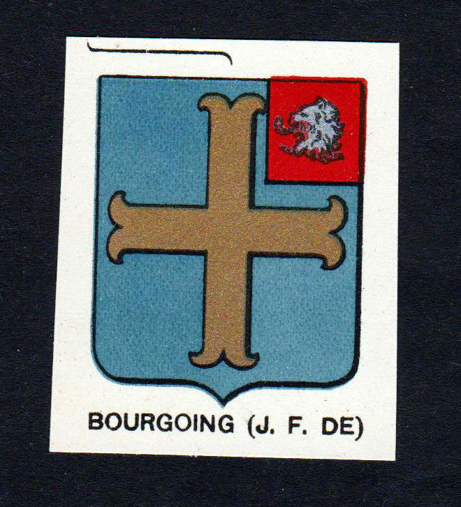 Ca. 1880 Bourgoing Wappen Adel coat of arms heraldry Lithographie antique 146078