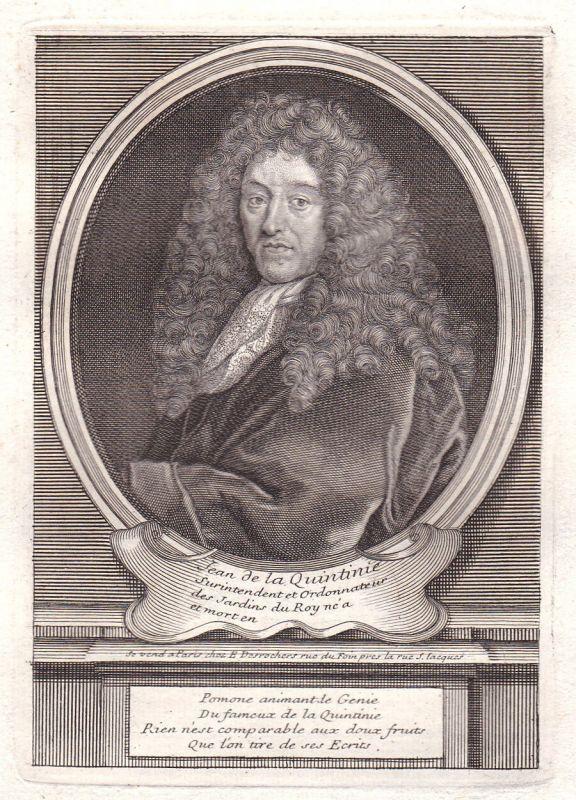 17. Jh. Jean-Baptiste de La Quintinie Versailles gravure Portrait antique print