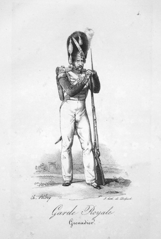 Grenadier Soldat Frankreich France Uniformen uniformes Militaria Litho 1820