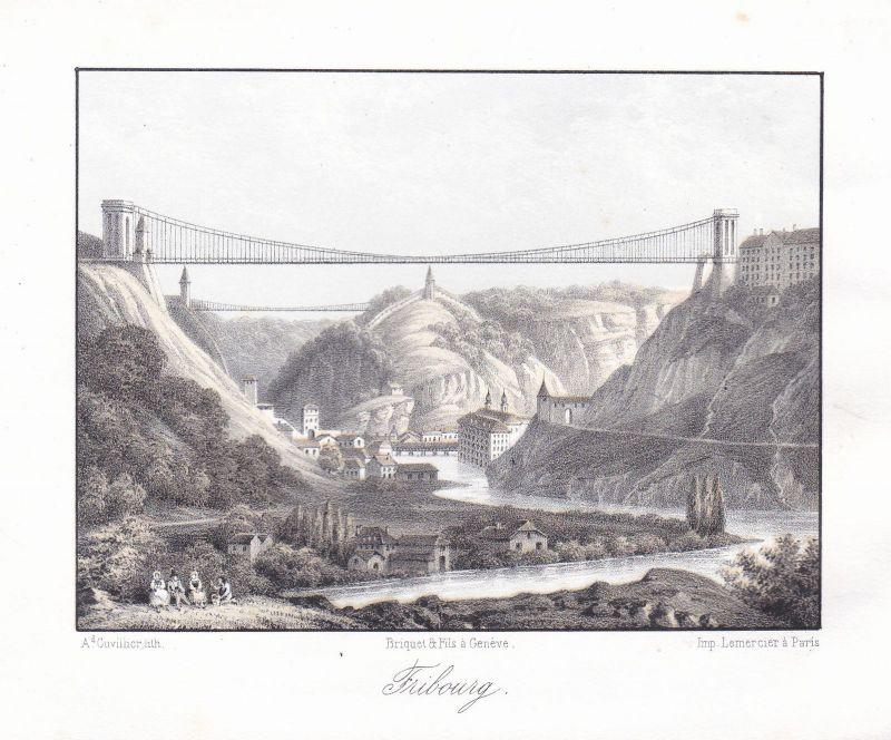 Fribourg Freiburg Schweiz Suisse Ansicht vue 1840 Cuvillier Farblithographie