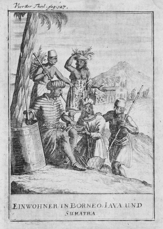 1697 Borneo Java Sumatra Indonesien Indonesia Kostüme costumes Kupferstich