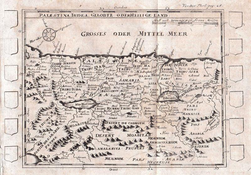 1697 Palästina Jerusalem Israel Karte map Kupferstich Pherotee de la Croix