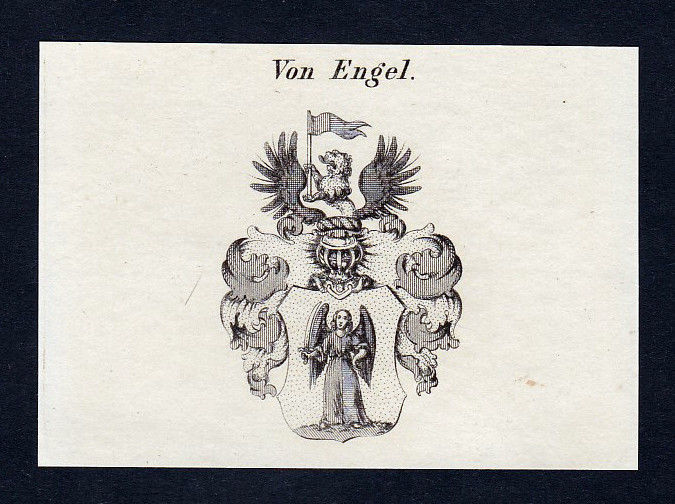 Ca. 1820 Engel Wappen Adel coat of arms Kupferstich antique print heraldr 142133