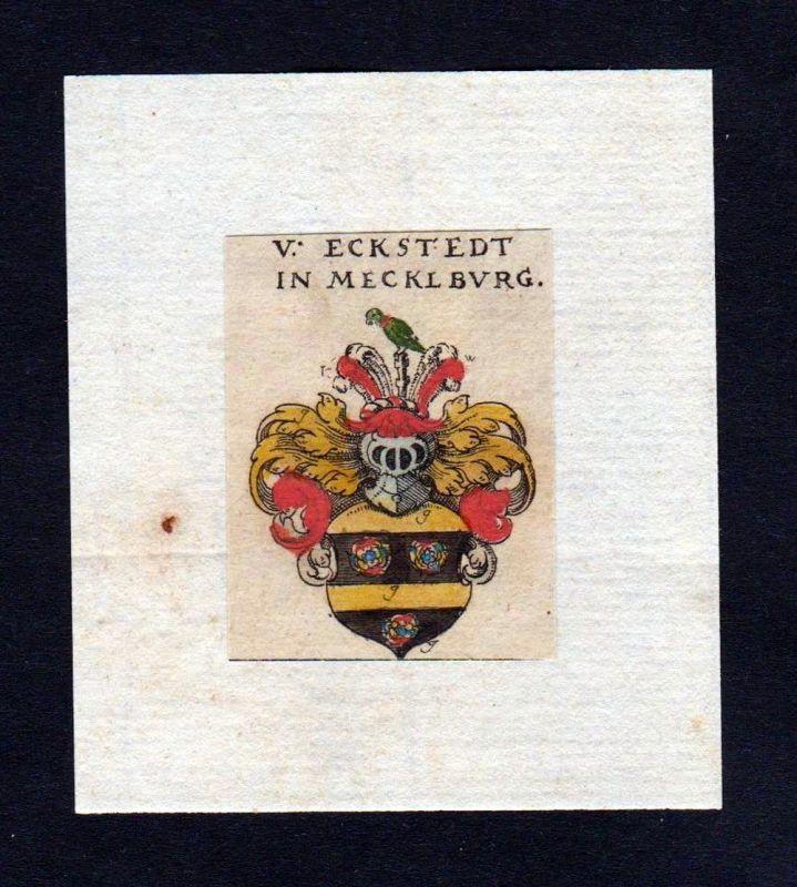 17. Jh Eckstedt Mecklenburg Wappen coat of arms heraldry Heraldik Kupferstich