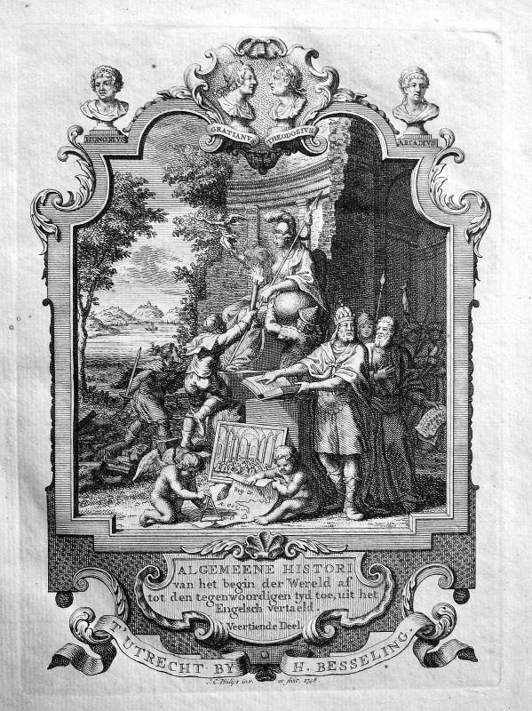 1748 Titelblatt Titel title page Atlas Kupferstich antique print Philips