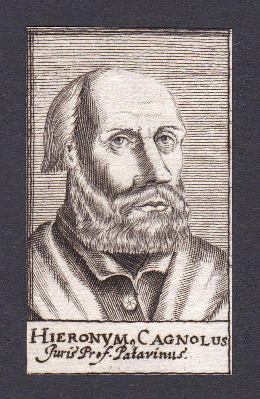 17. Jh. Girolamo Cagnolo / lawyer Jurist Batavia Portrait Kupferstich