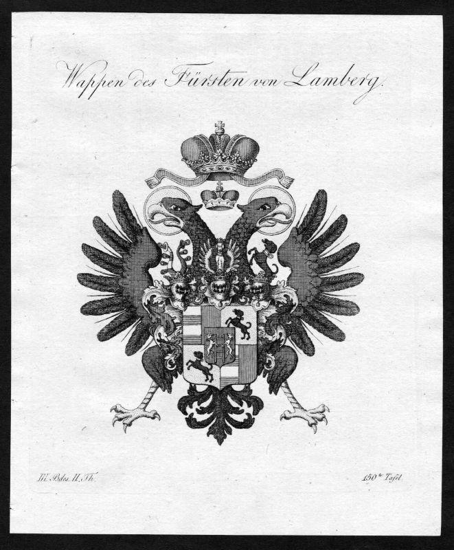 1790 - Lamberg Wappen Adel coat of arms heraldry Heraldik Kupferstich