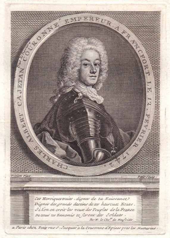 18. Jh. Karl Albrecht von Bayern VII HRR Kupferstich Portrait antique print