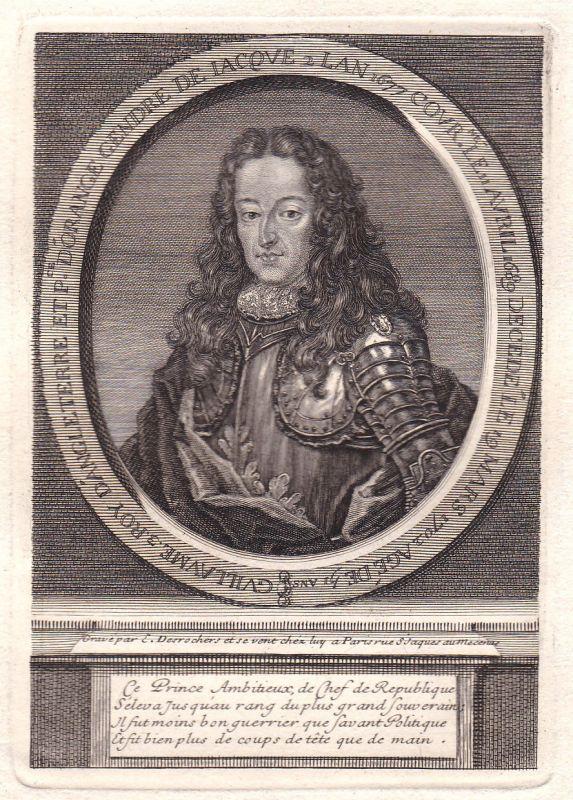 18. Jh. William III of England Willem III van Oranje Portrait antique print