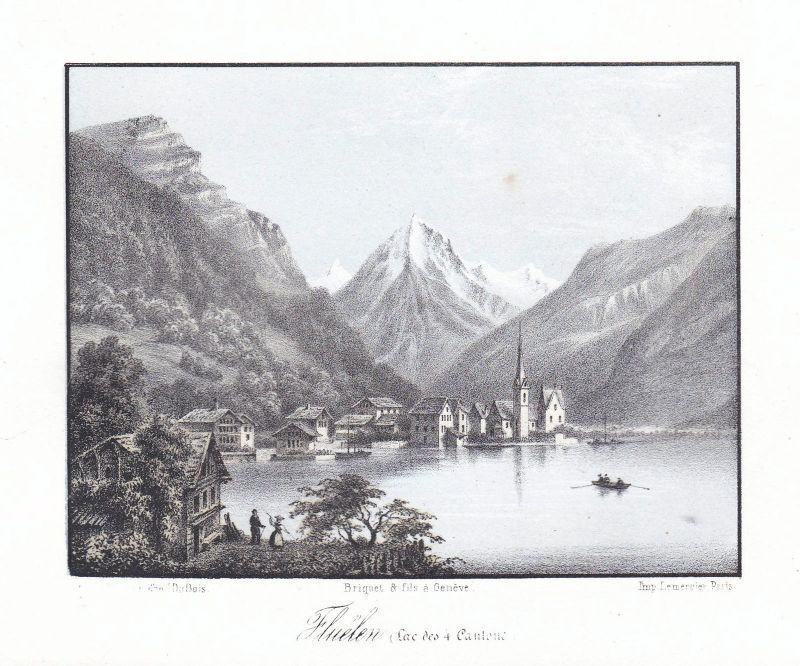 Flüelen Vierwaldstättersee Schweiz Suisse Ansicht vue 1840 Cuvillier Panorama