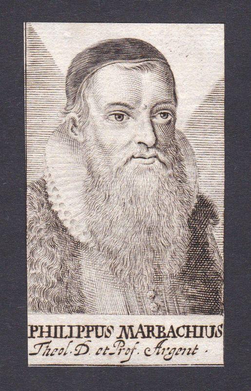 17. Jh. Philipp Marbach / theologian Theologe Heidelberg Portrait Kupferstich
