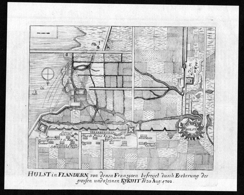 1705 Hulst Flandern Nederland battle map Karte Kupferstich antique print Merian