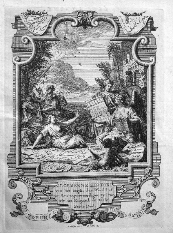1741 Titelblatt Titel title page Atlas Greece Kupferstich antique print Philips