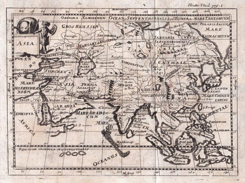 1697 Asien Asia China India Indien Thailand Karte map Kupferstich de la Croix