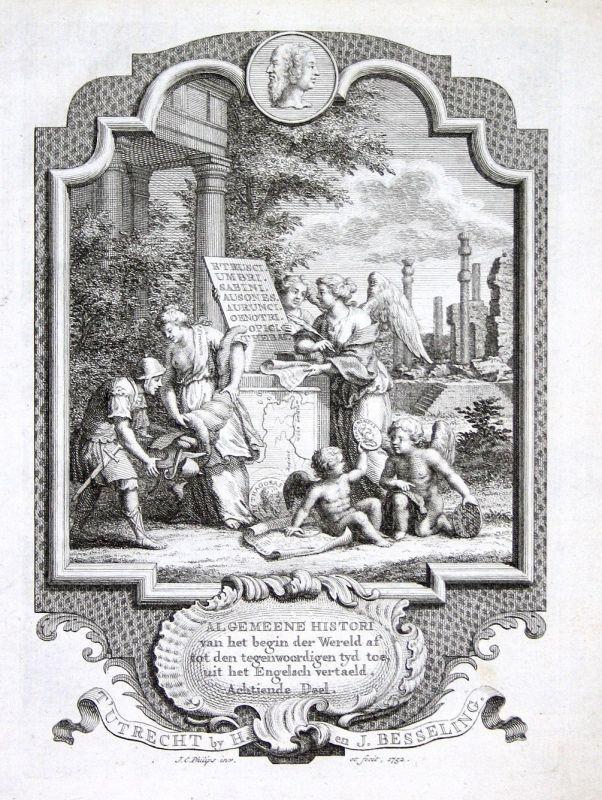 1752 Titelblatt Titel title page Phytagoras Kupferstich antique print Philips