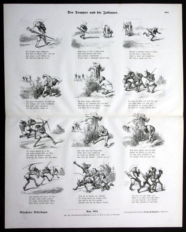 1900 Trapper und Indianer Amerika America List Gefangene Münchener Bilderbogen